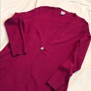 Chico's long button cardigan cranberry size small